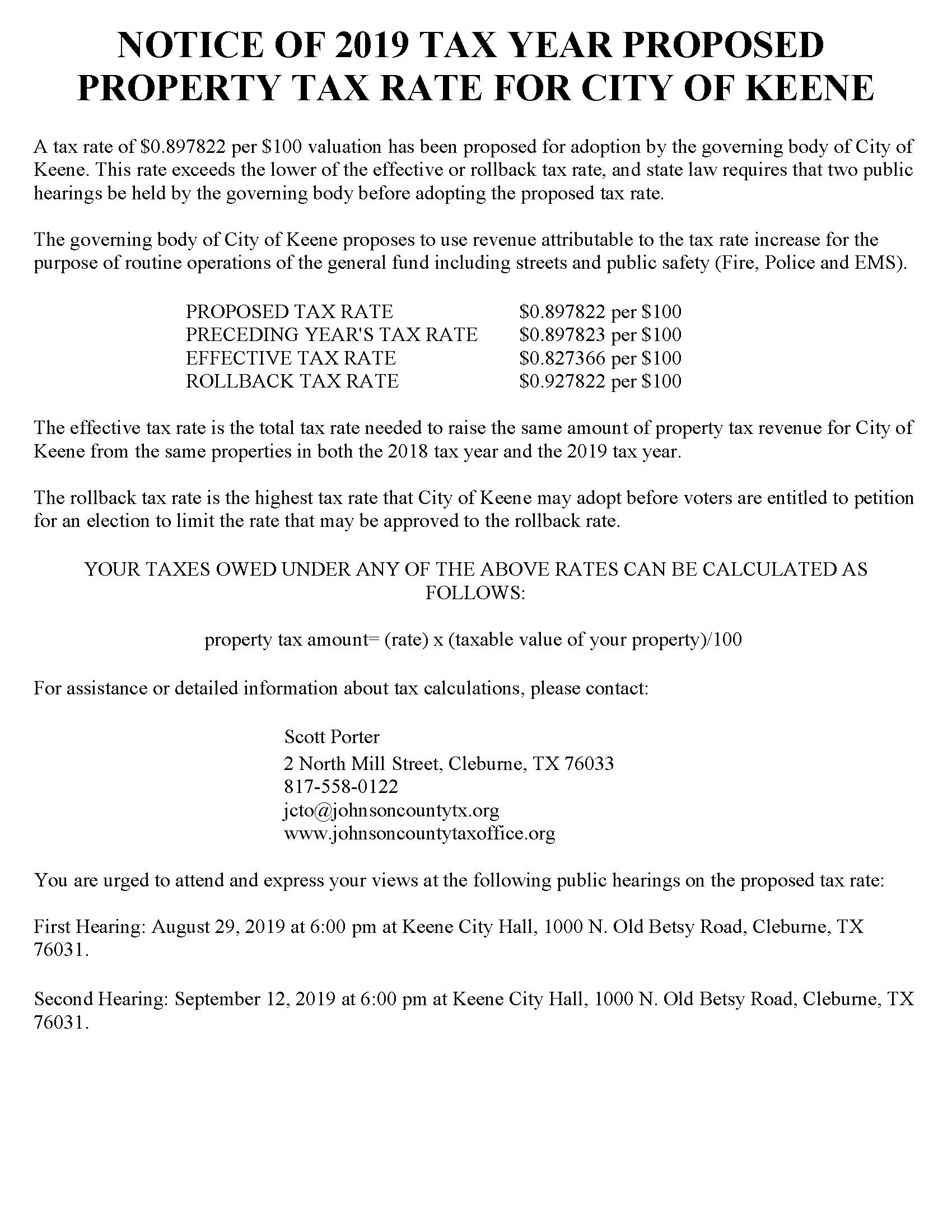 Notice of 2019 Tax Year Proposed Property Tax Rate for City of Keene